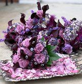 Atlanta Wedding Attendant Bouquet design featuring floral content in shades of purple from Al Dellinger of www.2000adinc.com, Photo courtesy of Unscripted Photography, West Lawn Baptist Church- ceremony site, Coosa Country Club- reception site