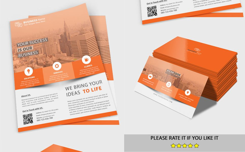 Business Flyer With Business Card Corporate Identity Template Business Cards Corporate Identity Business Flyer Corporate Flyer