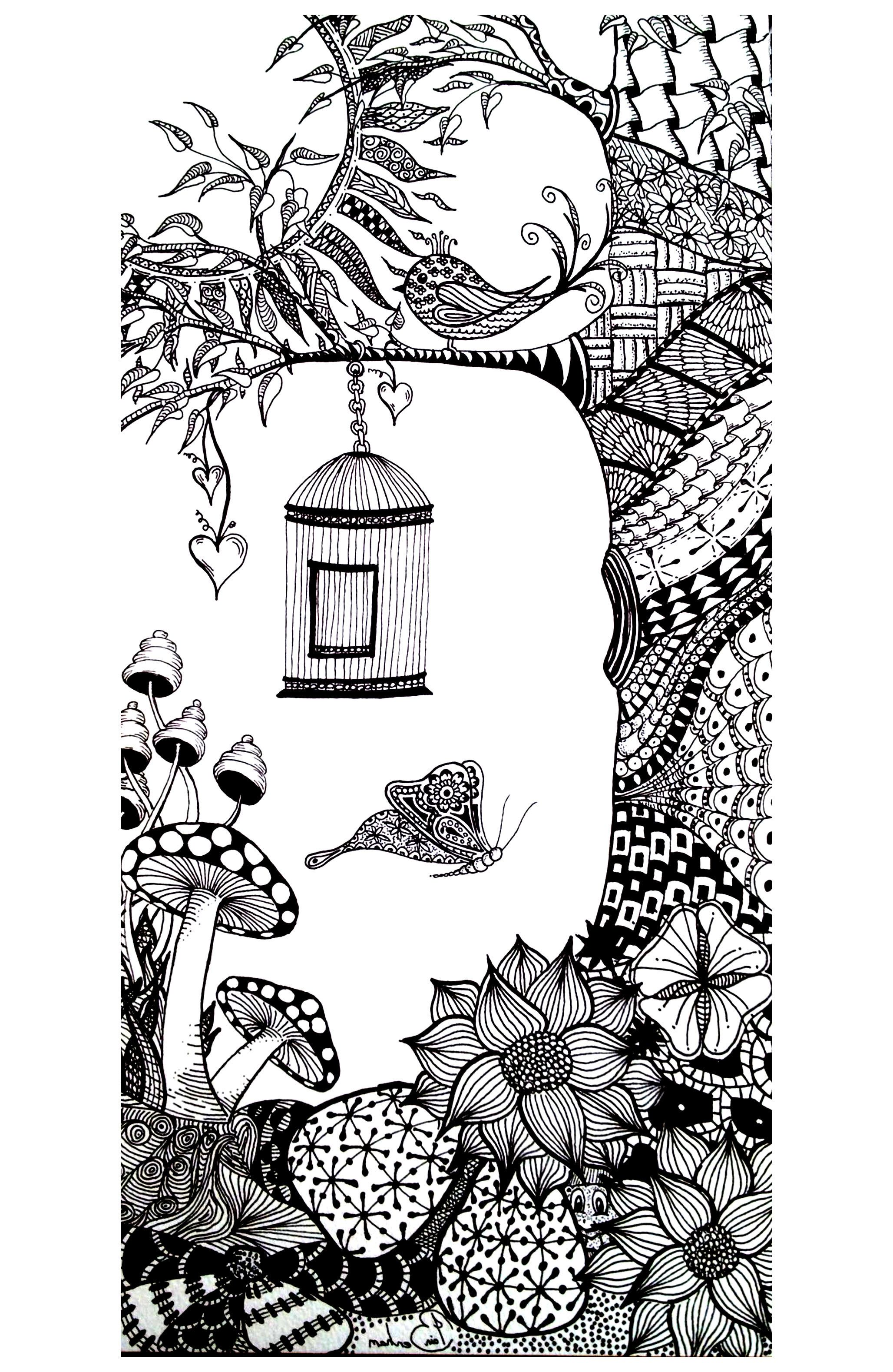 Free coloring page coloring-adult-animals-bird-butterfly. Coloring page with a butterfly and a bird, in a wonderfull surroundings