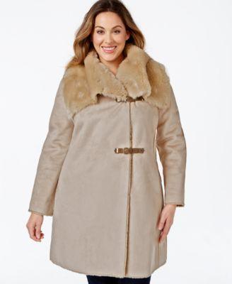 5f65ba7b516d Calvin Klein Plus Size Faux-Shearling Buckled Wrap Coat | plus coats ...