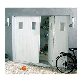 Porte De Garage 4 Vantaux Pvc Hublots Helsinki L 240 X H 200 Cm