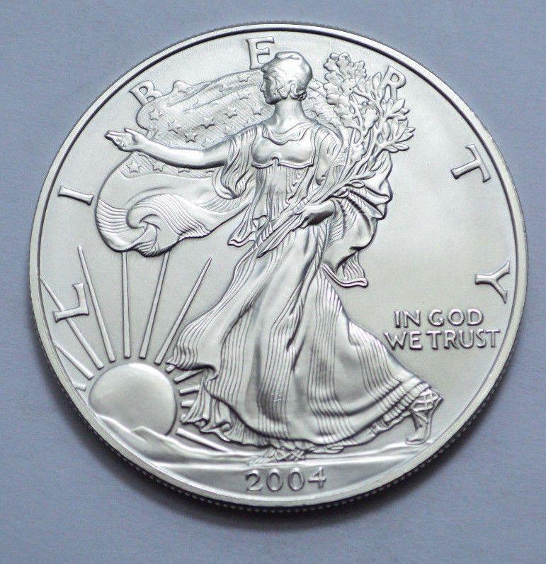 2004 American Silver Eagle Dollar 1 Oz Fine Silver Unc Bullion Coin With Images American Silver Eagle Silver Eagles Fine Silver