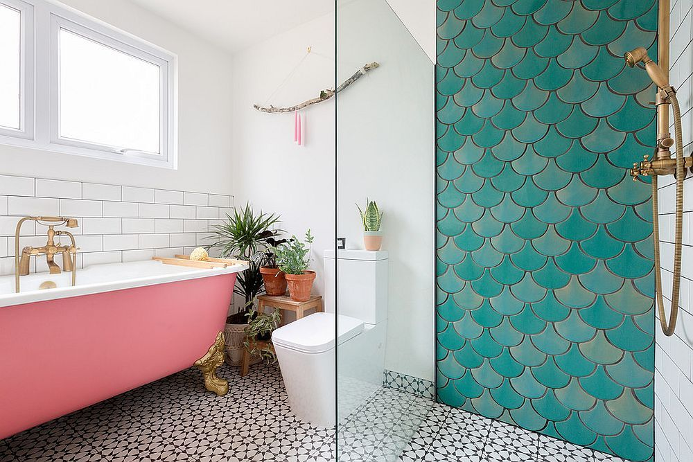 Full Of Life How To Add Moroccan Style Tiles To Your Home Bathroom Interior Mermaid Tile Bathroom Bathroom Accent Wall