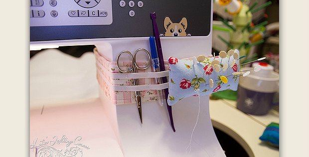Instructions are Included for Fitting it to Your Machine! Strap a pin cushion and small tool holder right to your sewing machine with this handy DIY accessory. The fabric band is held in place by velcro, as is the removable pin cushion. Small tools can be slipped behind elastic. If your machine has controls in …