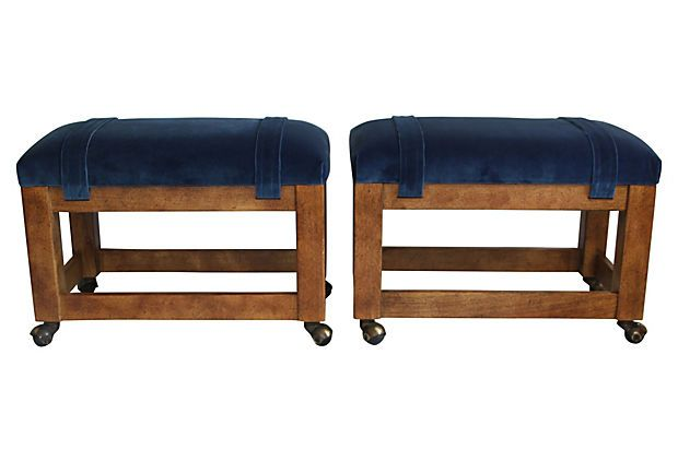 Blue Velvet  Drexel Benches, Pair on OneKingsLane.com