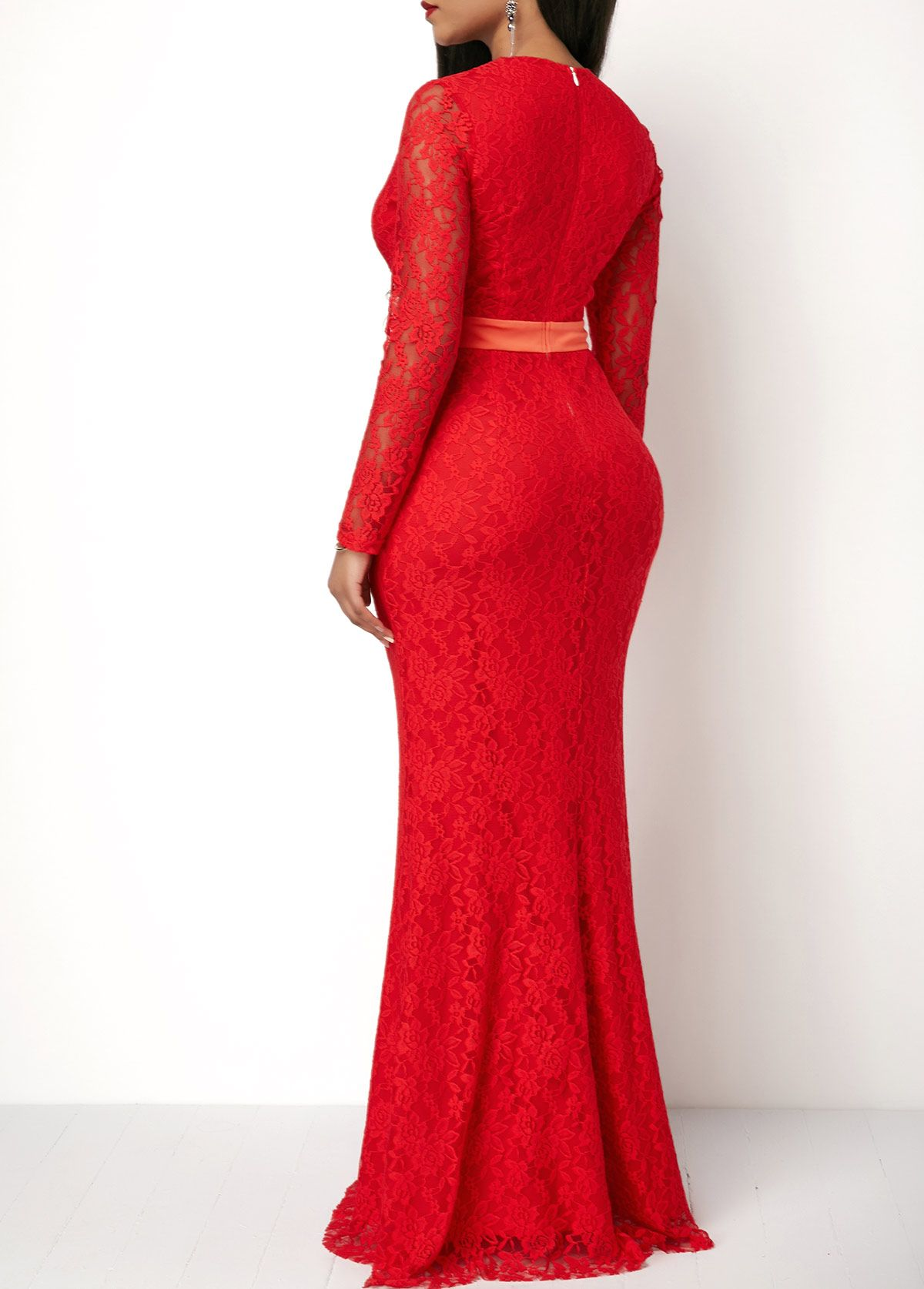 Zipper back long sleeve v neck lace dress womenus apparel