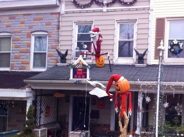 rowhouses on roland ave in baltimores hampden neighborhood lawrence kansas christmas yard decorations halloween