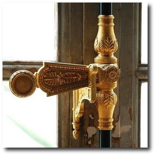 Antique Hardware Against Olive Painted French Doors - Antique Hardware Against Olive Painted French Doors Door Knockers