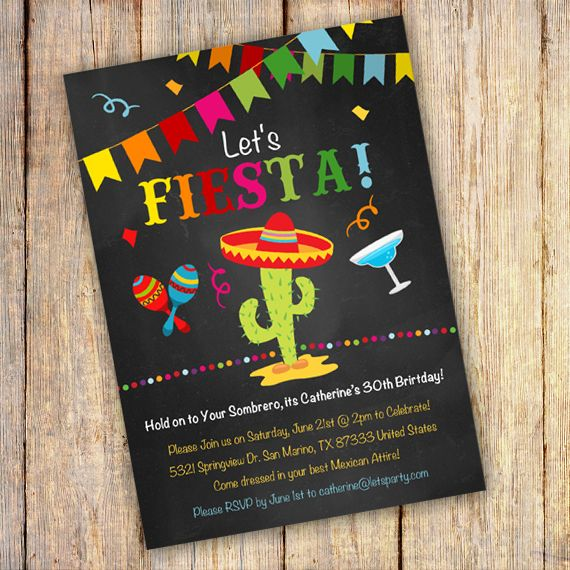 Printable Mexican Fiesta Birthday Party Invitation Template