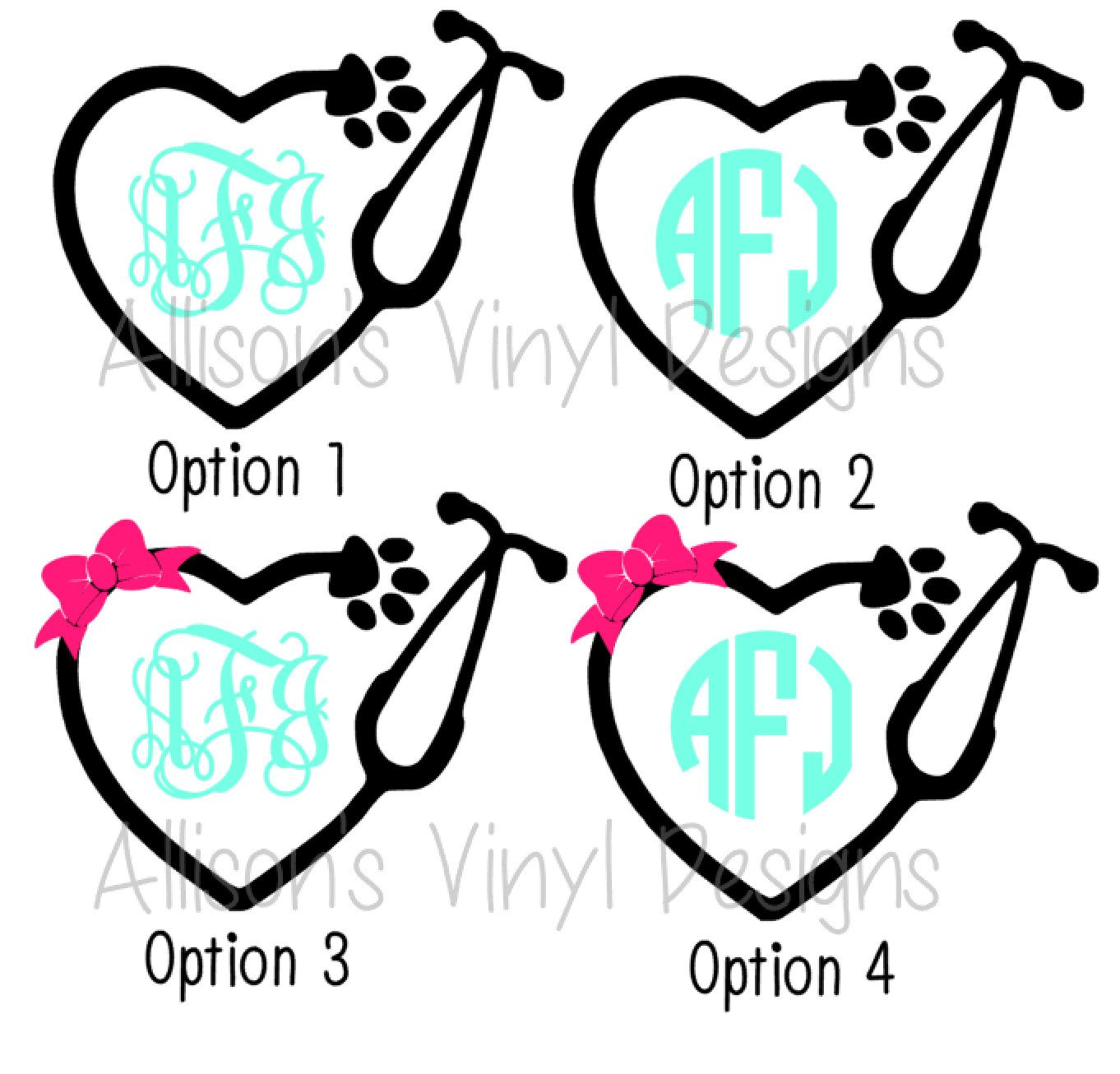 Monogram Veterinarian Stethoscope Car Decal Laptop Decal Computer ...