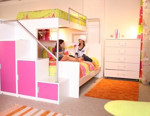 Superior Cool Pink And Orange Bunk Beds For Teenage Girls   Tween/Teen Bunk Beds U0026  Built Ins