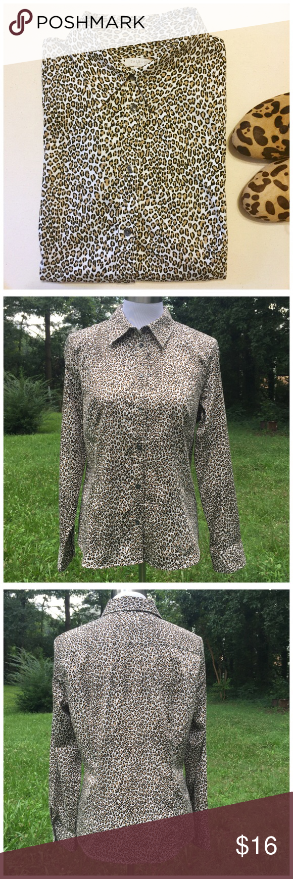 "Talbots Leopard Animal Print Fitted Buttondown - M Talbots Leopard Animal Print Fitted Buttondown --- medium --- excellent pre-loved condition, no signs of wear --- 98% cotton 2% Lycra spandex --- fabric has a small amount of stretch --- 20.5"" bust --- 25"" length --- thank you for visiting my boutique, please feel free to ask any questions ❤️ Talbots Tops Button Down Shirts"