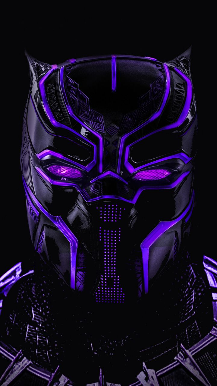 Black Panther Superhero Dark Glowing Mask X Wallpaper