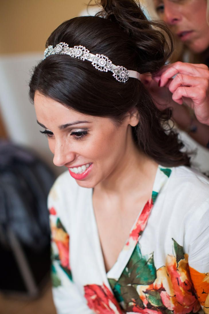 half-up hairstyle with jeweled headpiece | wedding hairstyles