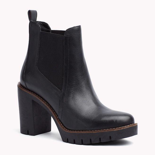 tommy hilfiger heeled leather ankle boot black tommy. Black Bedroom Furniture Sets. Home Design Ideas
