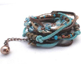 leather and chain boho bracelet – Etsy