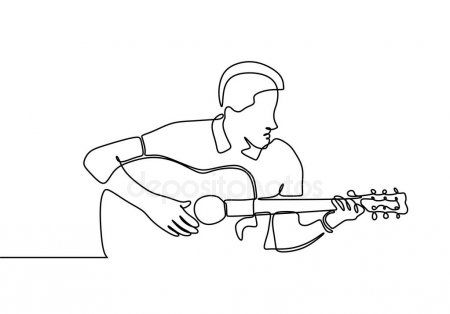 Man with guitar acoustic continuous line drawing minimalism