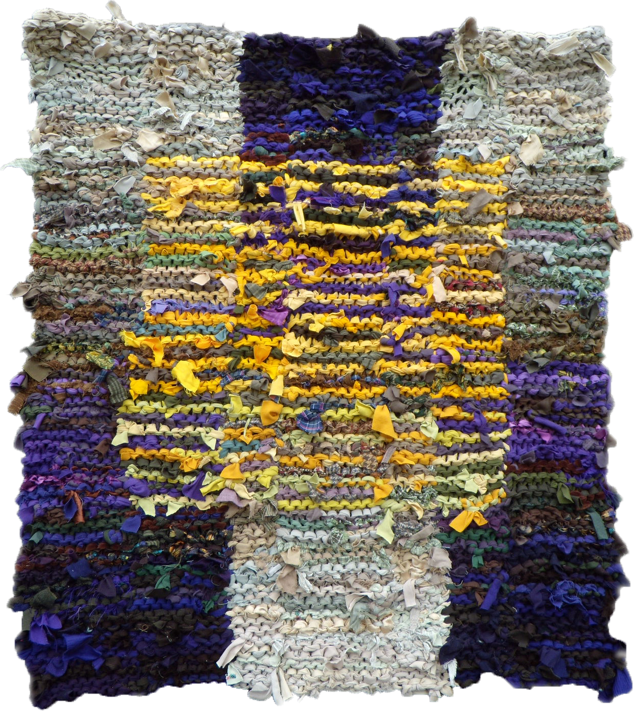 Hand Knit Rug Made From Recycled