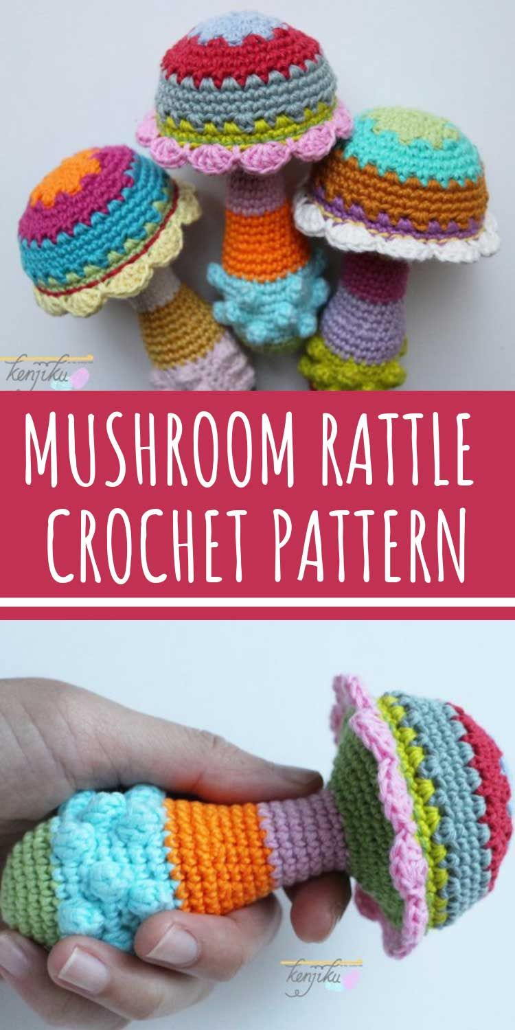 Mushroom Baby Rattle Crochet Pattern {To use up your scrap yarn!}