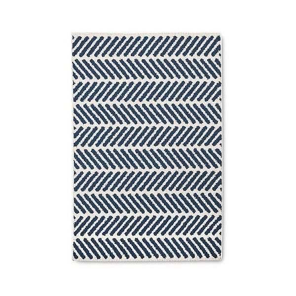Blue Chevron Accent Kitchen Rug 22 Liked On Polyvore Featuring Home Rugs
