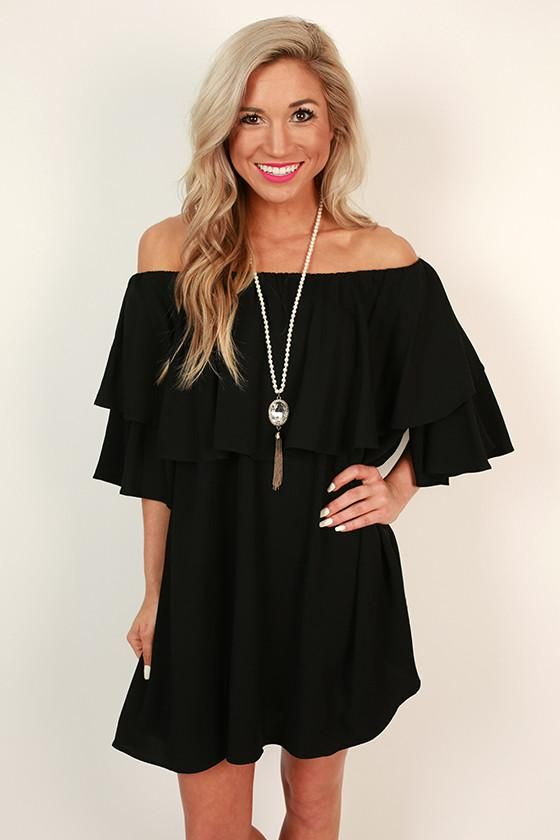 a141212069f Ruffle Ready Off Shoulder Dress in Black