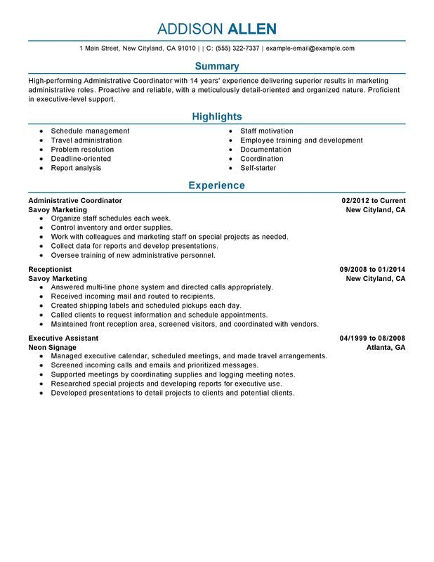 Administrative Coordinator Resume Sample  Places To Visit