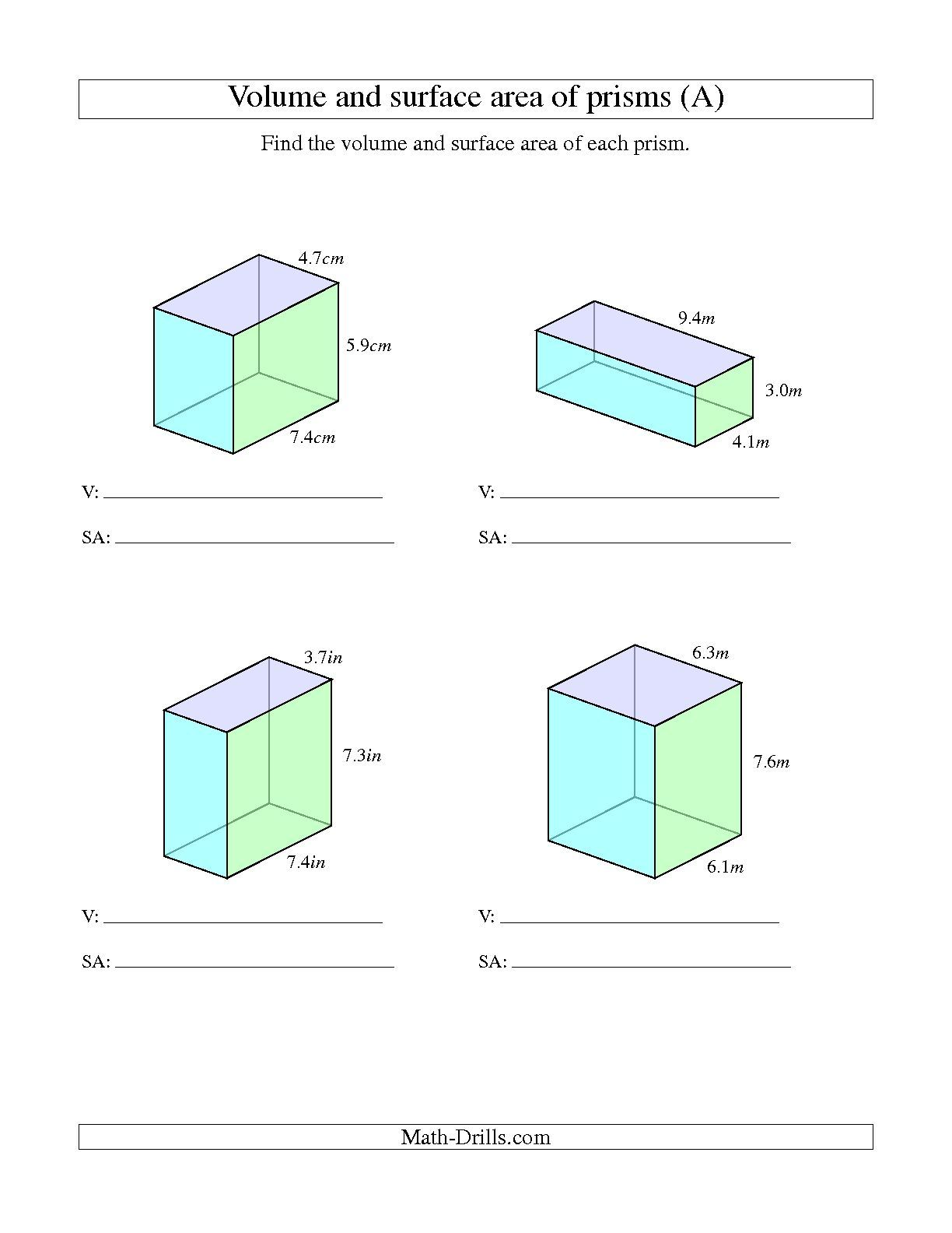 worksheet Volume And Surface Area Worksheets Grade 10 the volume and surface area of rectangular prisms with decimal numbers a math worksheet