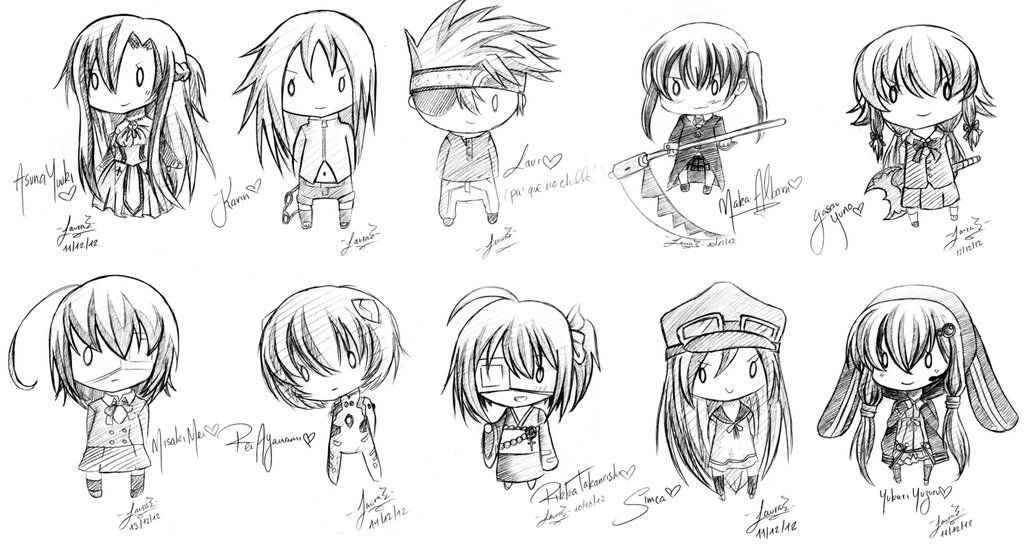 Anime chibi drawings pencil 17835code png