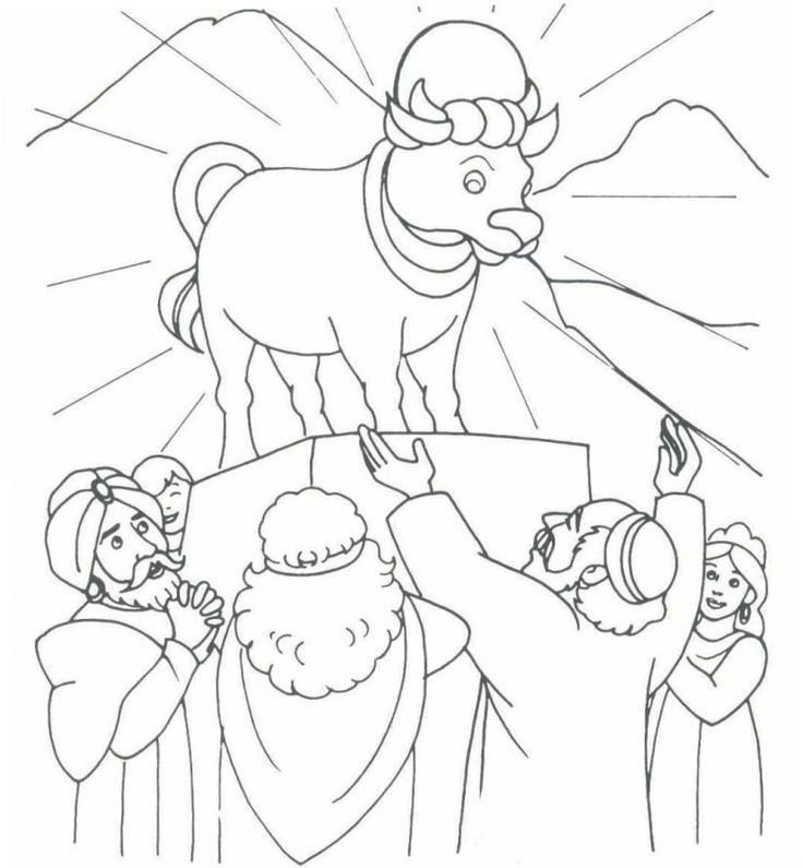 The golden calf (Exodus 32) | Coloring Pages | Pinterest | Bible ...