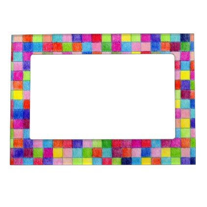 Colorful Colored In Graph Paper Squares Magnetic Photo Frame