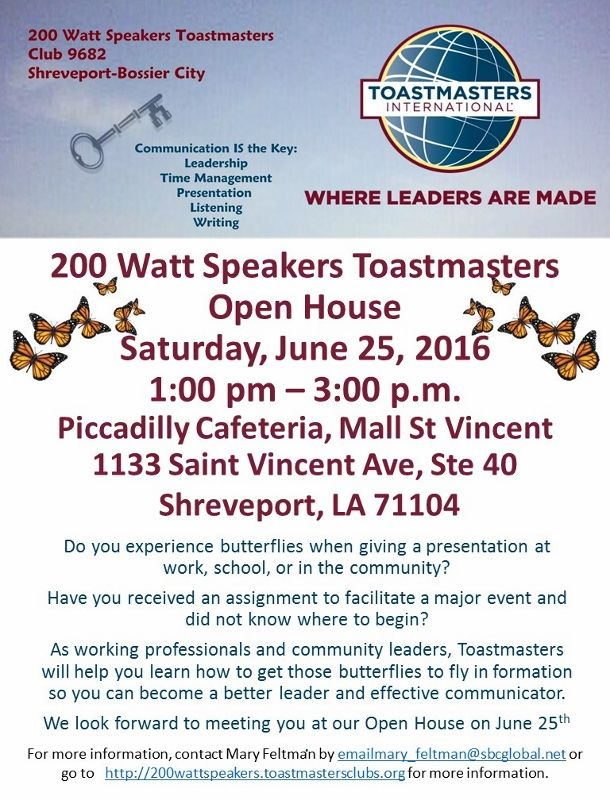 Watt Speakers Open House   Pm  Toastmasters