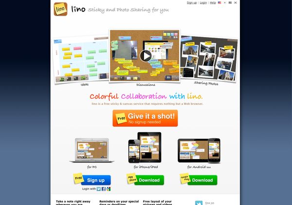 Lino is an online web sticky note service that can be used to post memos, to-do lists, ideas, and photos anywhere on an online web canvas.