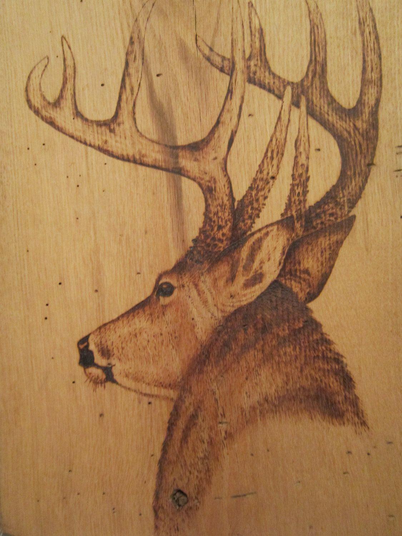 Whitetail Deer Wood Burning Rustic Decor 65 00 Via Etsy