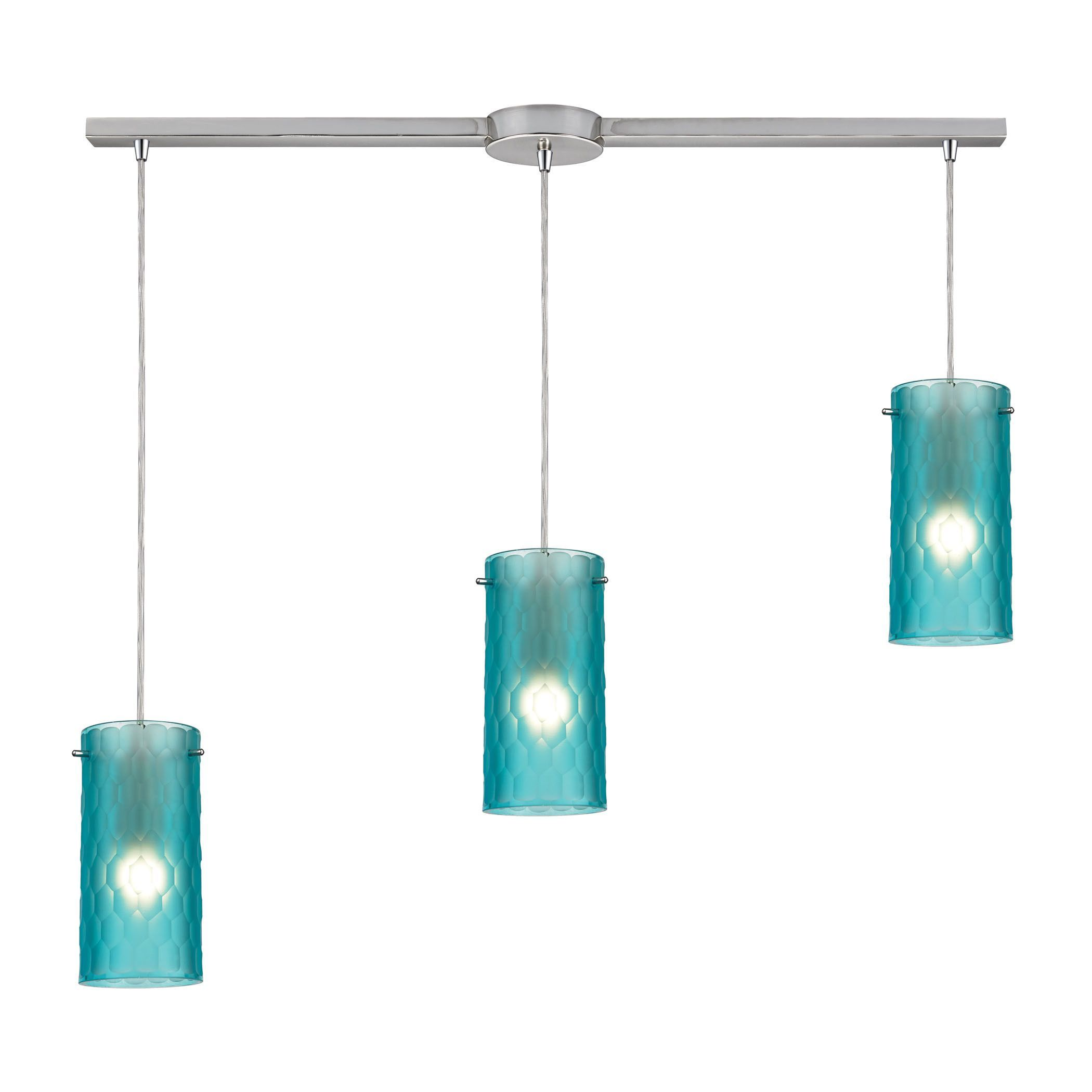 Synthesis light pendant in satin nickel and frosted aqua glass