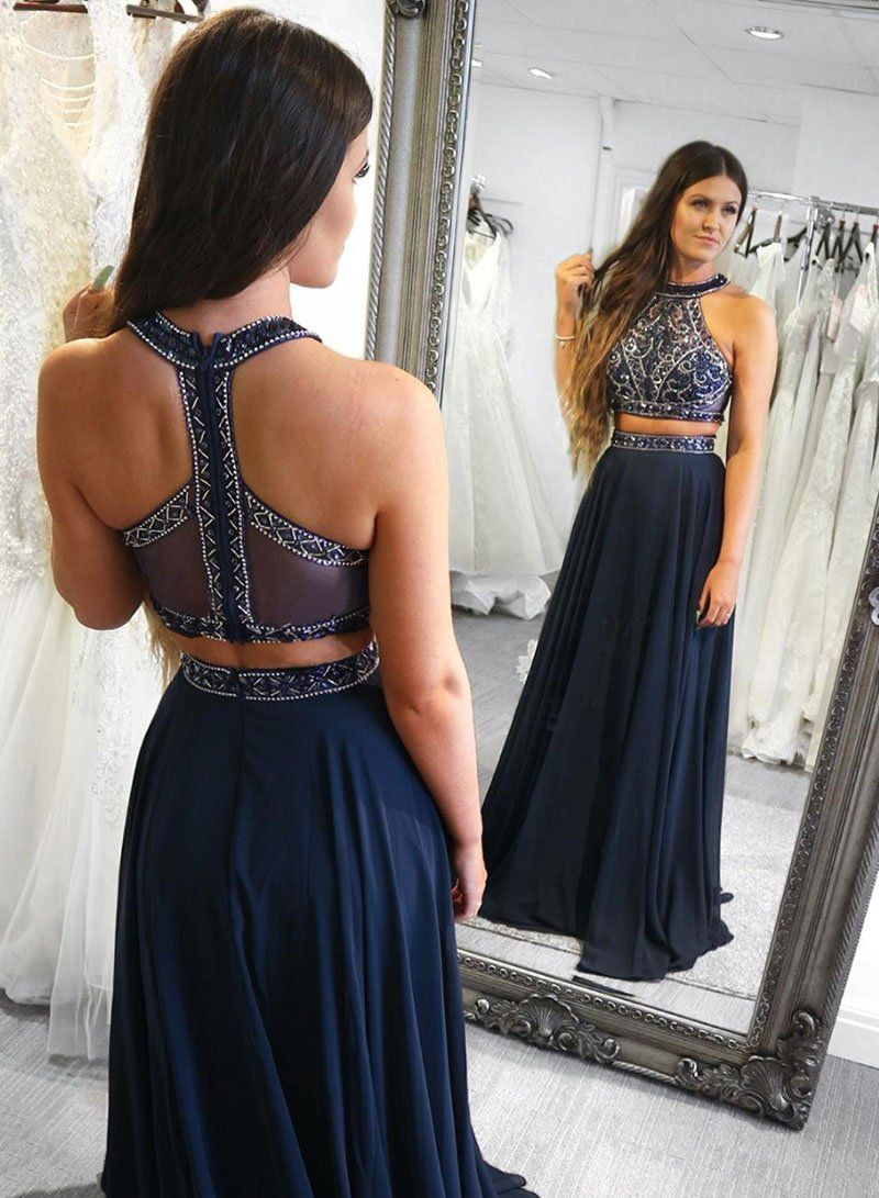 Dark Navy Prom Dresses Two Pieces Prom Dresses Long Prom Dresses Strapless Prom Dresses Chif Two Piece Evening Dresses Prom Dresses Long Prom Dresses Two Piece [ 1091 x 800 Pixel ]