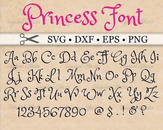 PRINCESS MONOGRAM FONT SVG Font Files Brush Fancy Handwriting Monogram