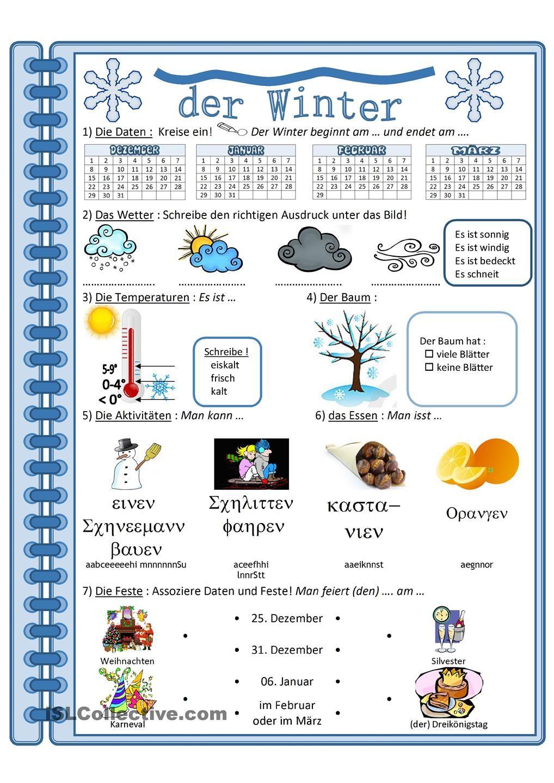 Arbeitsblätter Jahreszeiten Kostenlos : Winter jahreszeiten bildung und arbeitsblätter