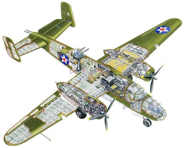 B-25 Cutaway Illustration   WW...