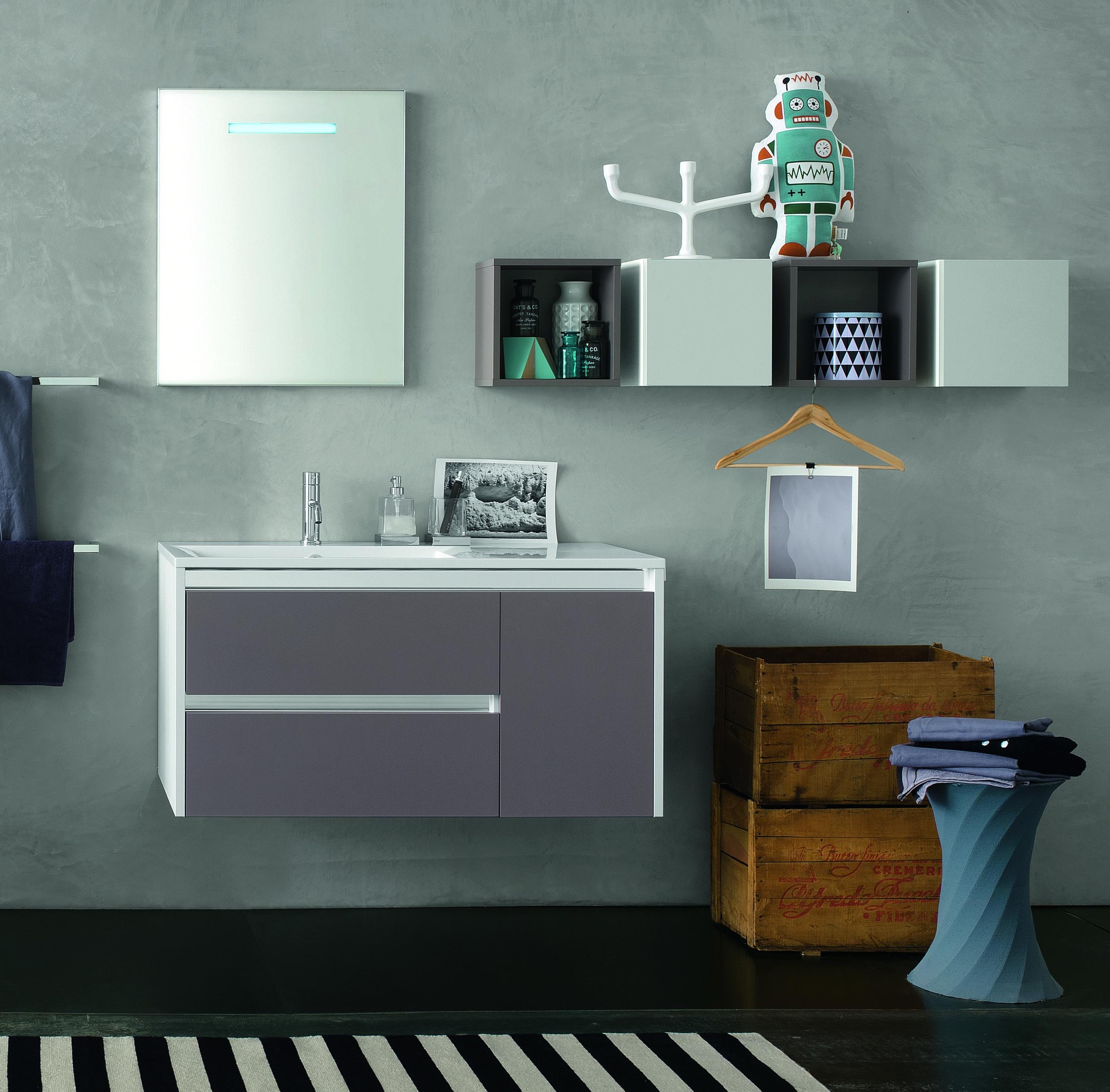 Meuble Avec Vasque Coloris Terra Di Luna Brillant Et Miroir A Led