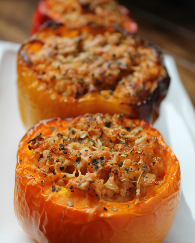 Vegetarian Stuffed Bell Peppers #stuffedbellpeppers