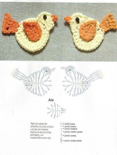 pajaritos | APLIQUES | Pinterest | Croché, Ganchillo y Ganchillo crochet