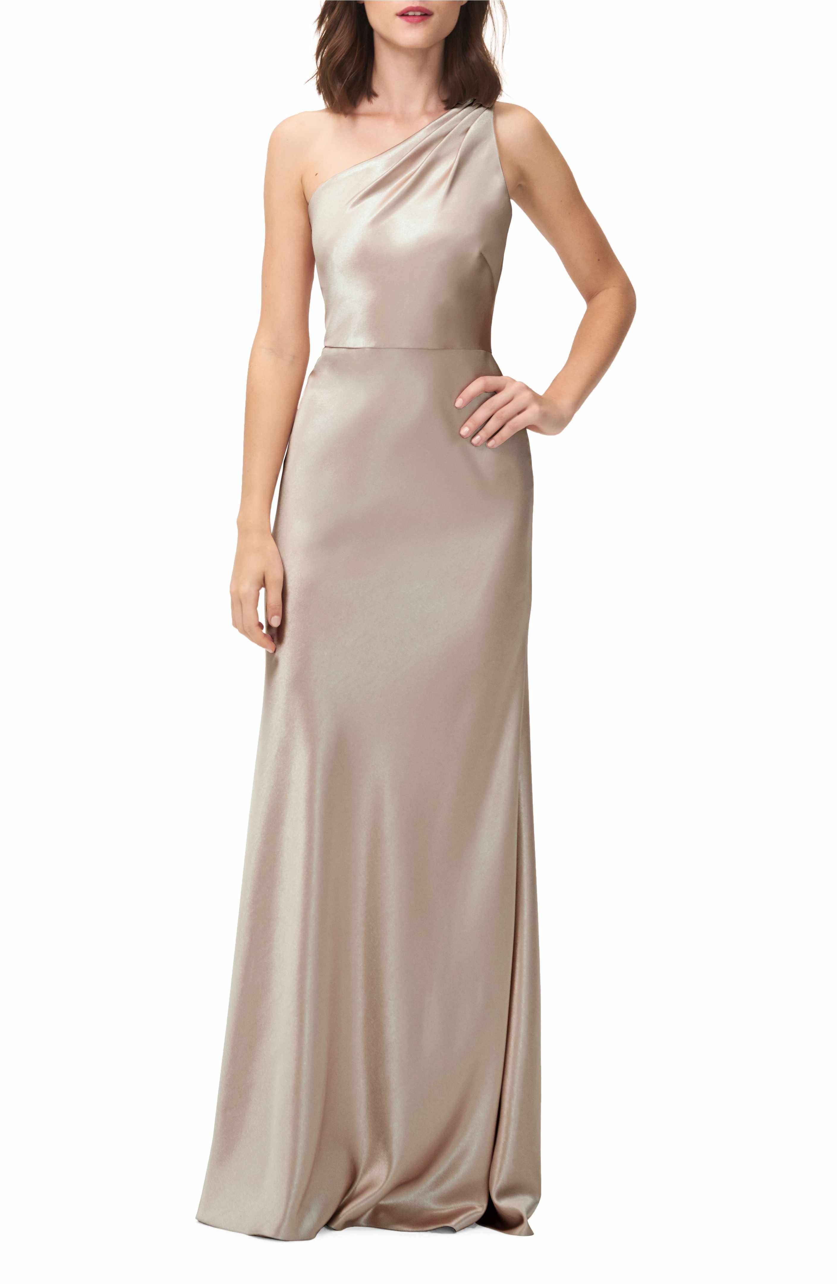 Lena One-Shoulder Crepe Back Satin Gown | Satin gown, Crepes and Gowns