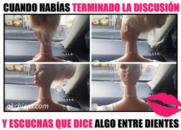 meme ok chicas muñeca barbie de frente da vuelta a su cuello