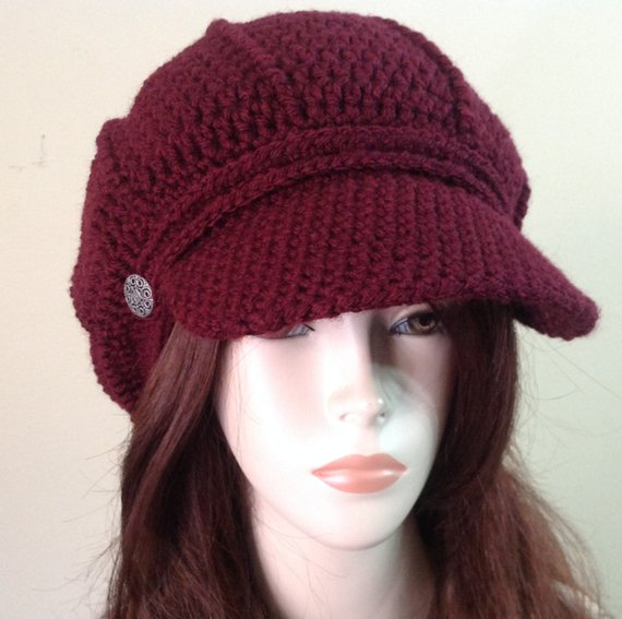 27dbfb34a03 Dark burgundy Style Newsboy Hat Crochet Slouchy Newsboy Cap Adult black Beanie  Hat with Visor Ber