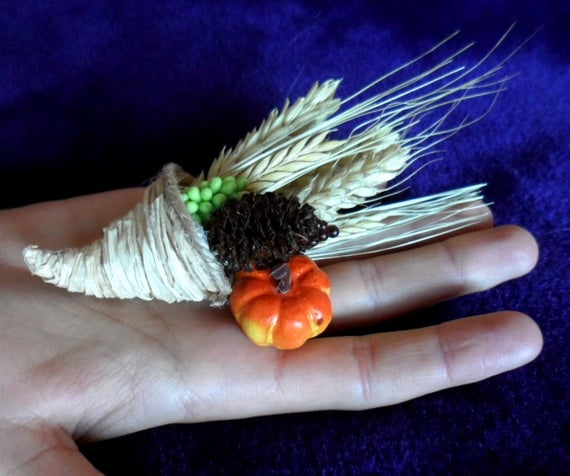 Photo of Items similar to Hand crafted  Mabon Altar Cornucopia. Harvest Altar decoration. Miniature. on Etsy