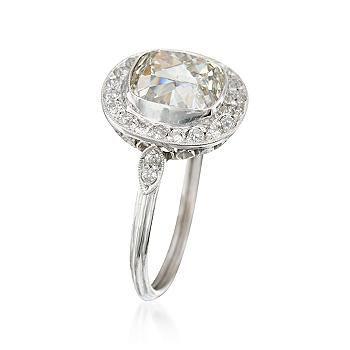 Ross-Simons - C. 1950 Vintage 3.29 ct. t.w. Diamond Ring in Platinum. Size 7 - #672815