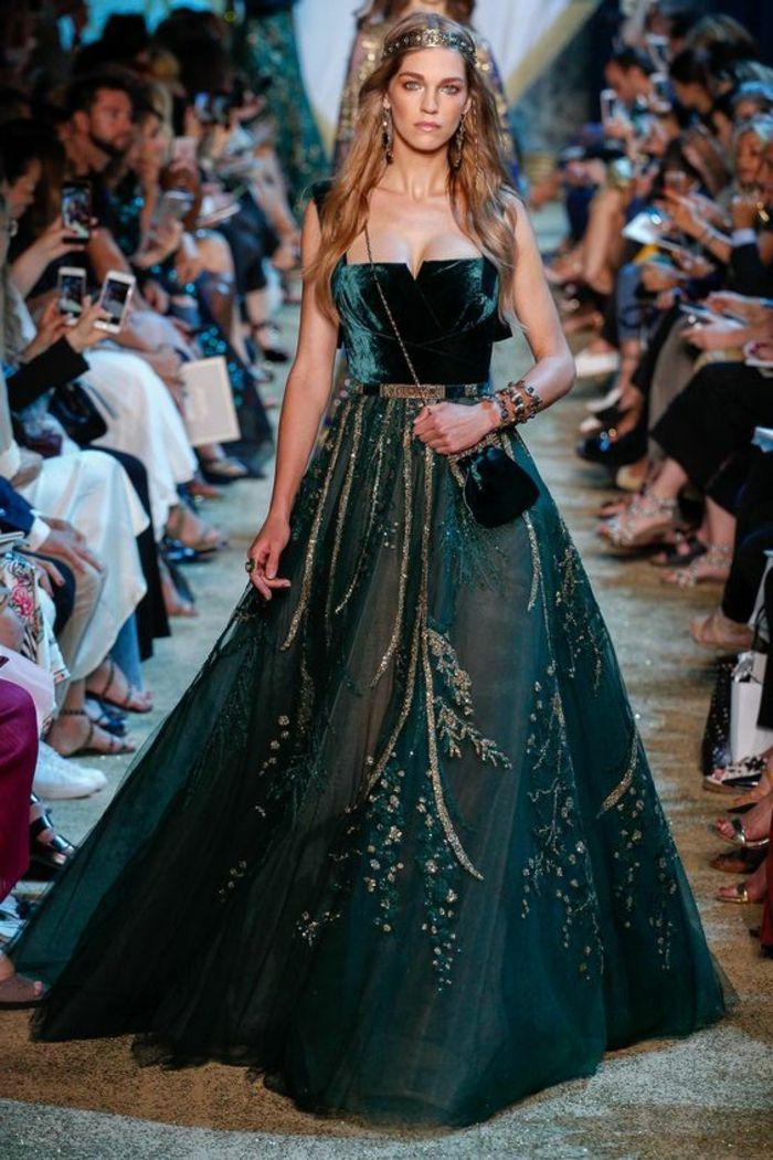 robe longue mariage brodé chic vert