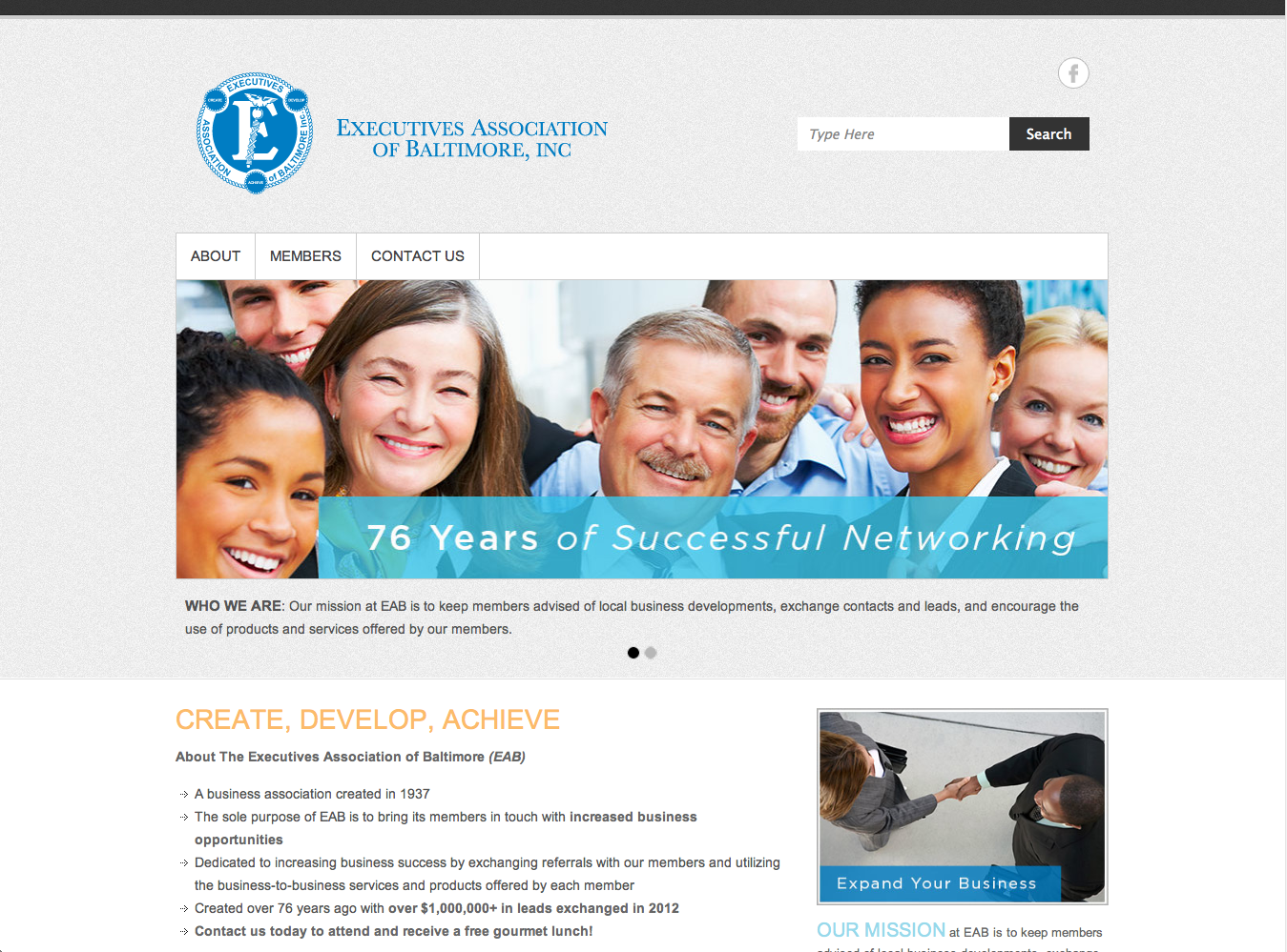 Website Design for Executives Association of Baltimore (EAB) -web design-