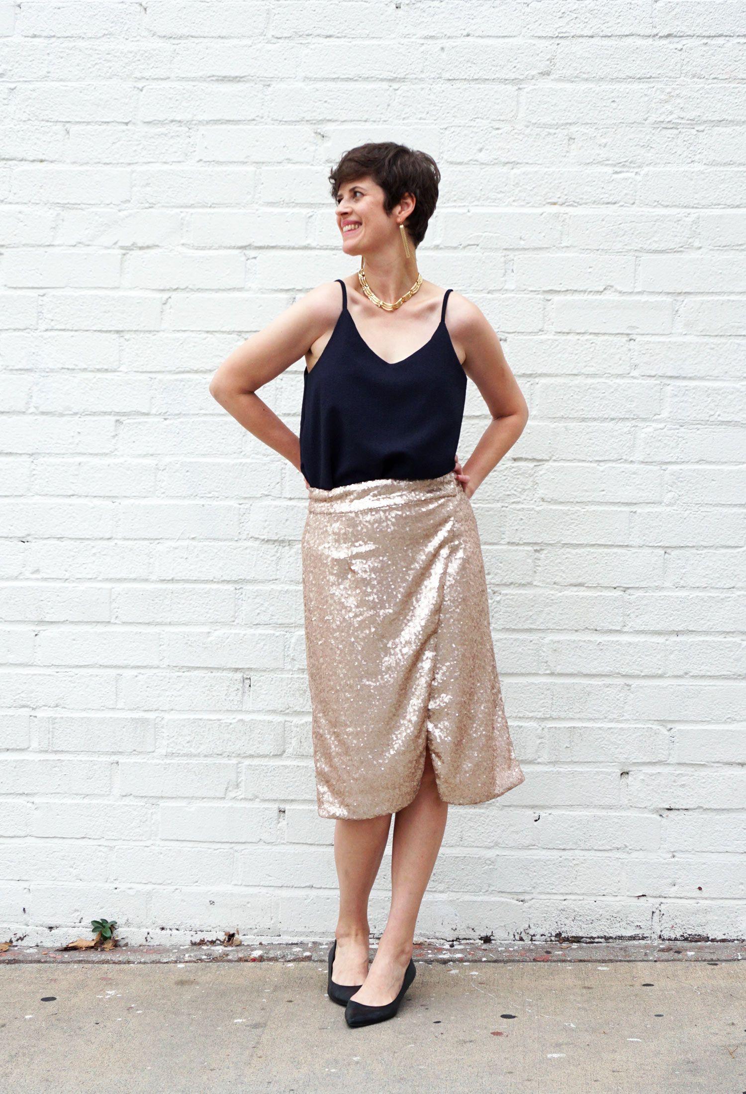 d8f8a5c0136ce7 DIY Sequin Wrap Skirt | Alter. Sew. Strut. Fashion! | Skirt patterns ...