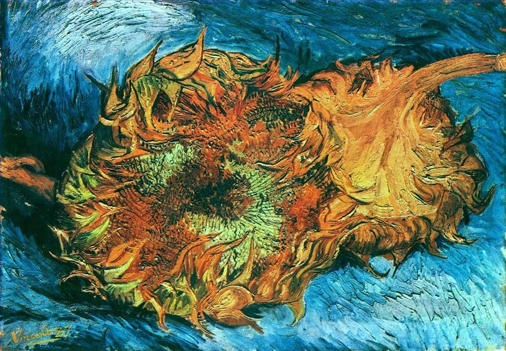Still Life with Two Sunflowers Vincent van Gogh Oil Paintings